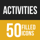 50 Activities Grey Scale Icons - GraphicRiver Item for Sale