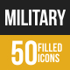 50 Military Grey Scale Icons - GraphicRiver Item for Sale