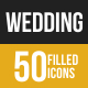 50 Wedding Grey Scale Icons - GraphicRiver Item for Sale