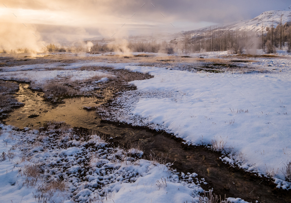 Strokkur geyser, Haukadalur geothermal field, Iceland - Stock Photo - Images