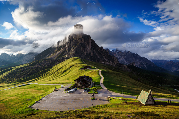 The Giau Pass at sunset, Belluno, Dolomites, Italy - Stock Photo - Images
