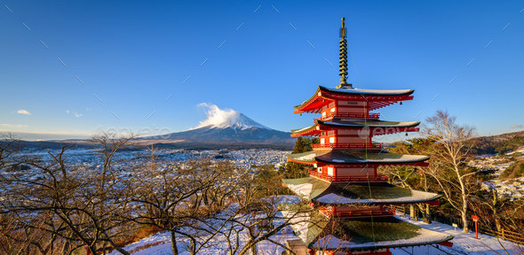 Mt. Fuji with Chureito Pagoda in Winter, Fujiyoshida, Japan - Stock Photo - Images