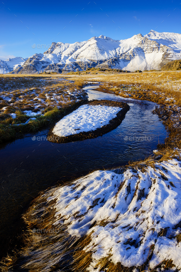 Winter landscape in Iceland - Stock Photo - Images