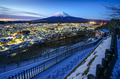 Mt Fuji and Fujiyoshida city at twilight, Japan - PhotoDune Item for Sale