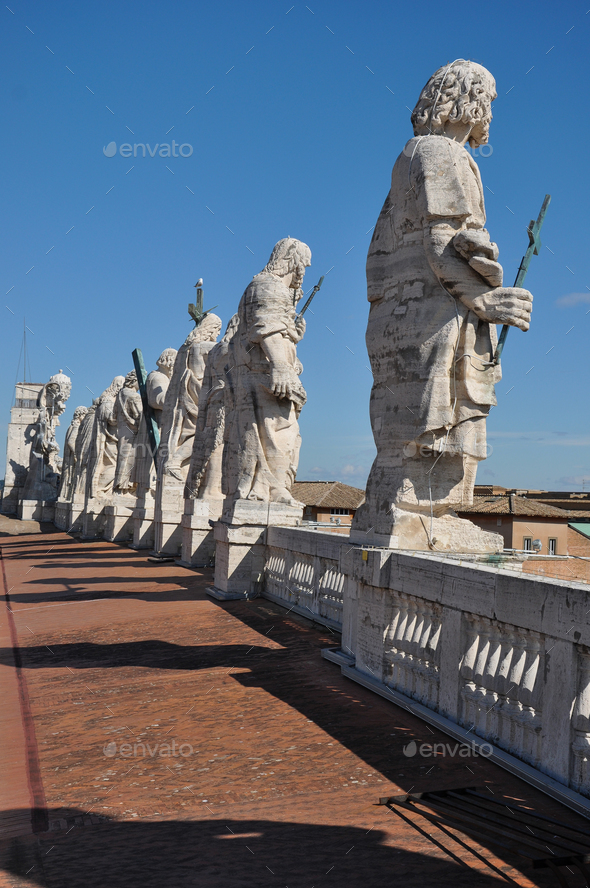 Statues of the apostles. Saint Peter's basilica, Vatican - Stock Photo - Images