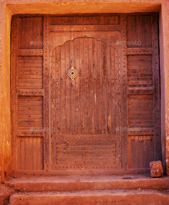 Door in moroccan village - Stock Photo - Images