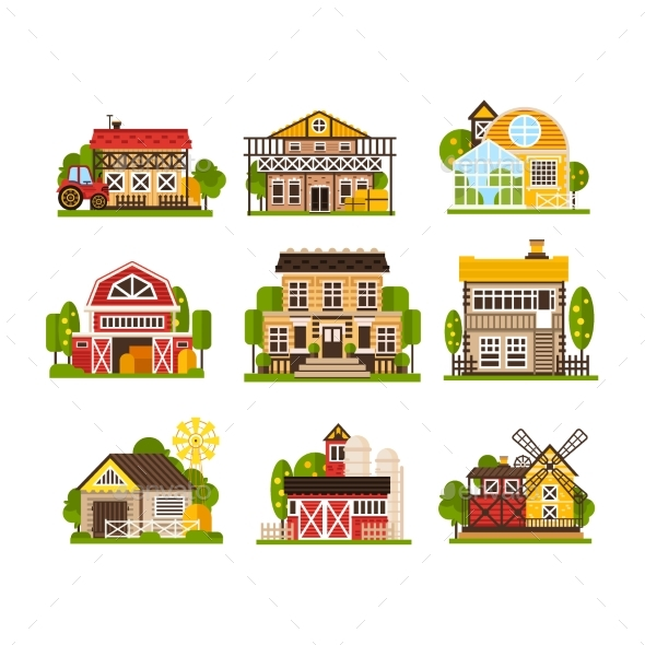 Farm Houses and Buildings Set, Agriculture - Buildings Objects