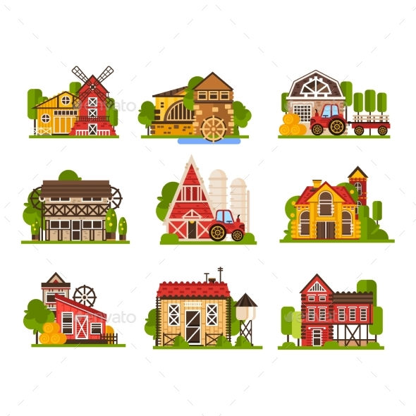 Farm Buildings Set, Agriculture Industry - Buildings Objects