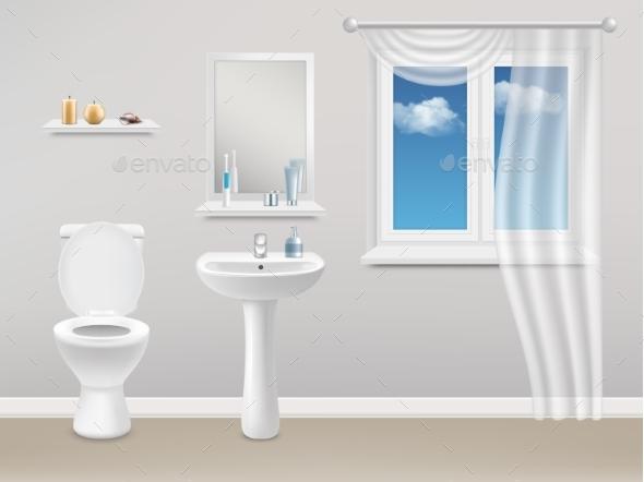 Bathroom Interior Vector Realistic Illustration - Miscellaneous Vectors
