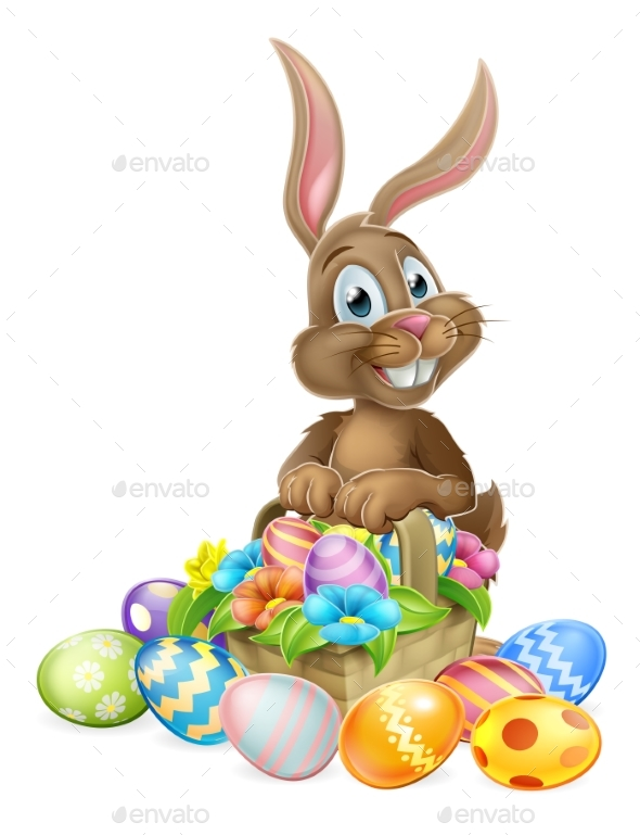 Easter Bunny With Basket of Eggs - Seasons/Holidays Conceptual