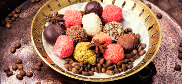 Chocolate candy, chocolate truffle - Stock Photo - Images