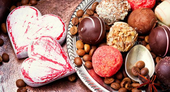 Chocolate candy, chocolate truffle - Stock Photo - Images