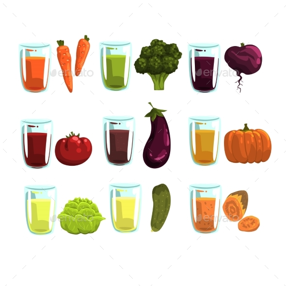 Vegetable Juices Set, Carrot, Broccoli, , Eggplant - Food Objects