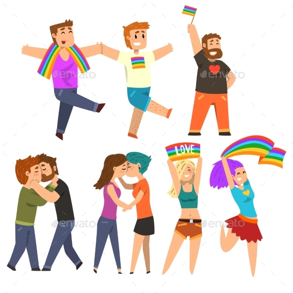 Lgbt Community Celebrating Gay Pride, Love Parade - Miscellaneous Vectors