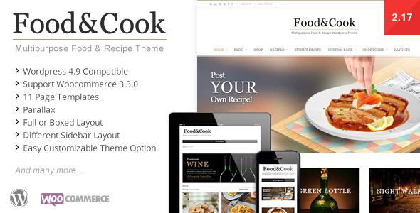 Food & Cook - Multipurpose Food Recipe WP Theme - Retail WordPress