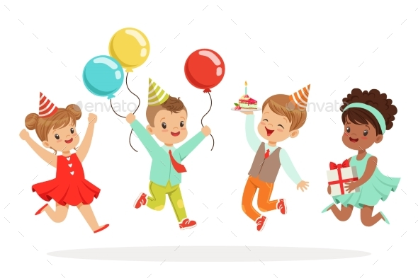 Little Children Birthday Celebration Party With - People Characters