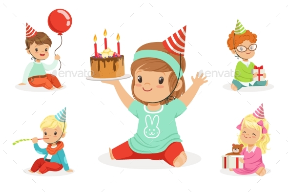 Little Children Birthday Celebration Party - People Characters