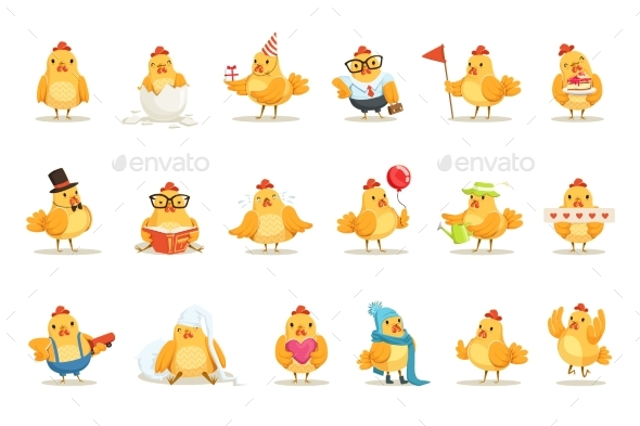Little Yellow Chicken Chick Different Emotions - Animals Characters