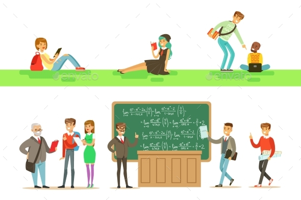 University Education, Students And Professors Set - Miscellaneous Vectors