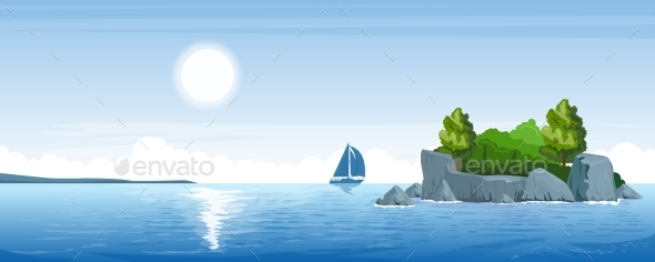 Seascape with a Small Island - Landscapes Nature