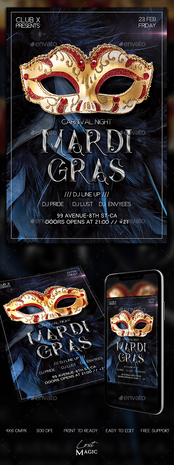 Mardi Gras Flyer - Clubs & Parties Events