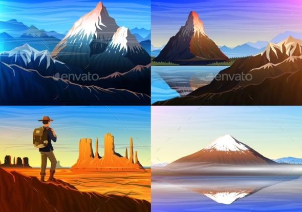 Mountain Everest, Matterhorn, Fuji with Tourist - Landscapes Nature