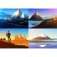 Mountain Everest, Matterhorn, Fuji with Tourist