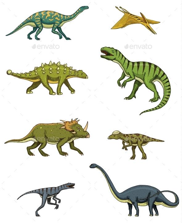 Dinosaurs Set, Triceratops, Barosaurus - Animals Characters