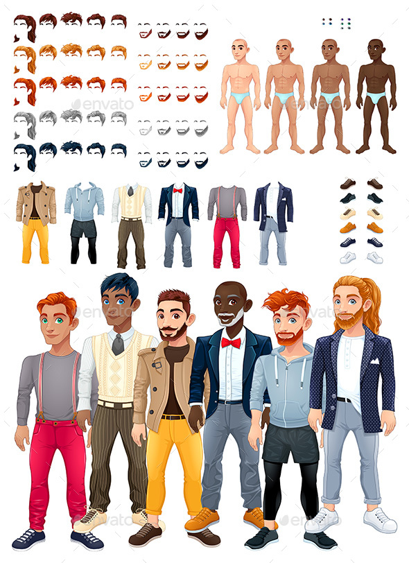 Dresses and Hairstyles Game with Male Avatars - People Characters