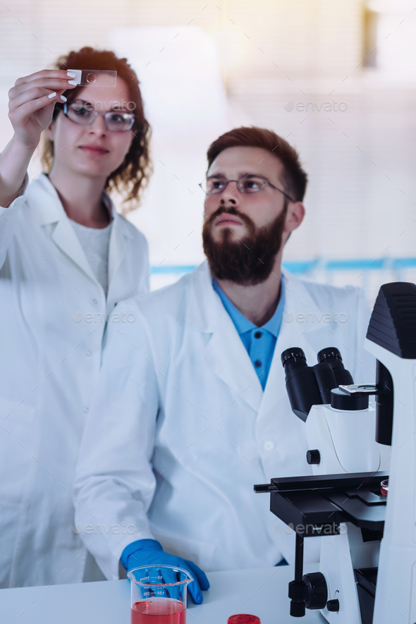Students Observing Slide In Laboratory - Stock Photo - Images