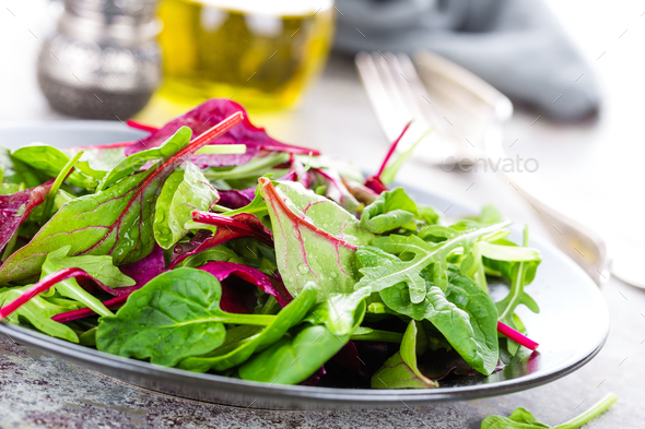 Healthy vegetarian dish, leafy salad with fresh chard, arugula, spinach and lettuce. Italian mix - Stock Photo - Images