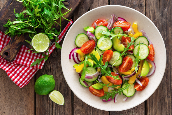 Healthy vegetarian dish, vegetable salad - Stock Photo - Images