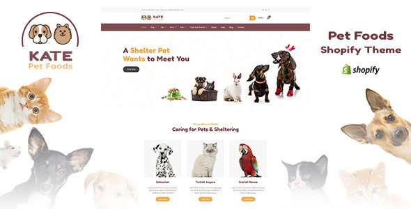 Kate - Dog & Pets Food Store Shopify Theme - Shopping Shopify
