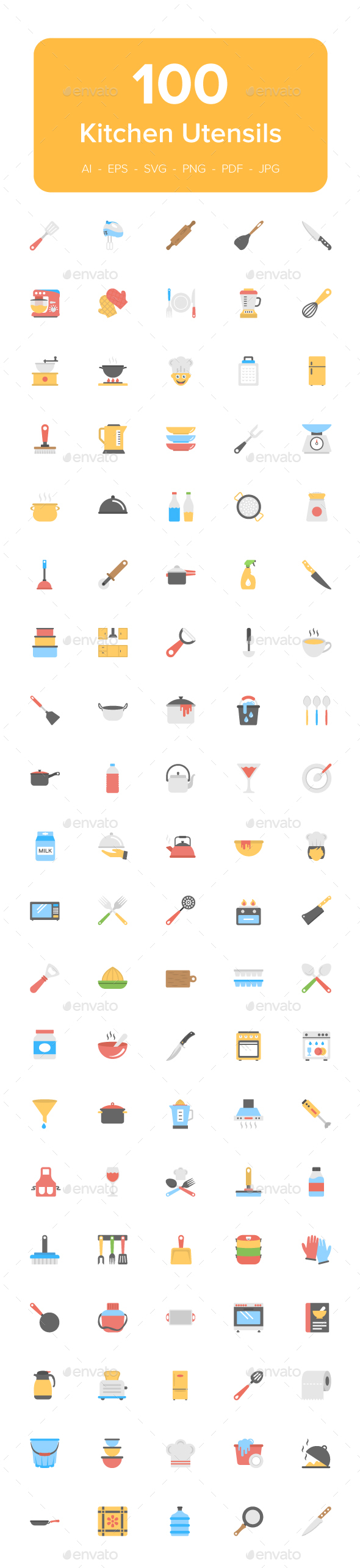 100 Kitchen Utensils Flat Icons - Icons