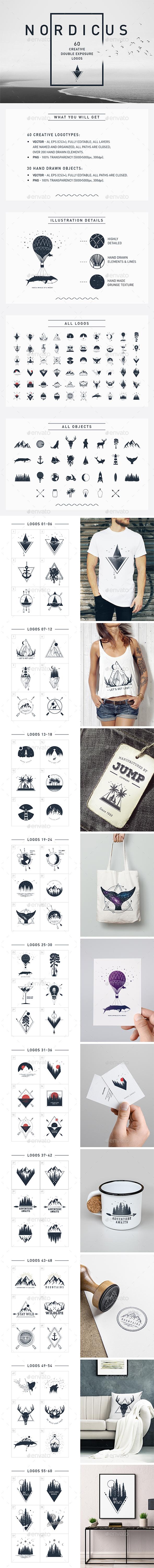 Nordicus. 60 Creative Logos - Badges & Stickers Web Elements