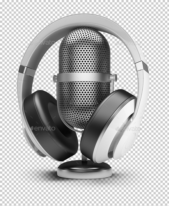 Retro Microphone and Headphones - Objects 3D Renders