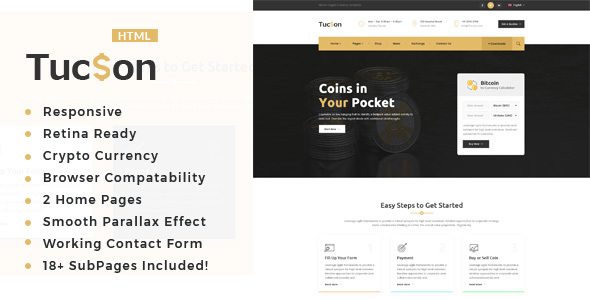 Tuscon - Bitcoin And Crypto Currency HTML Template