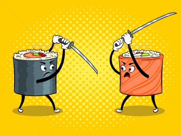 Sushi Roll with Japanese Sword Pop Art Vector - Food Objects