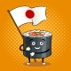Sushi Roll with Japanese Sword Pop Art Vector - GraphicRiver Item for Sale