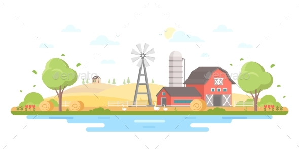 Country Life - Modern Flat Design Style Vector - Buildings Objects