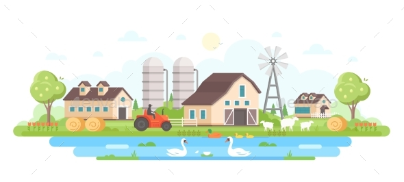 Farm - Modern Flat Design Style Vector - Buildings Objects