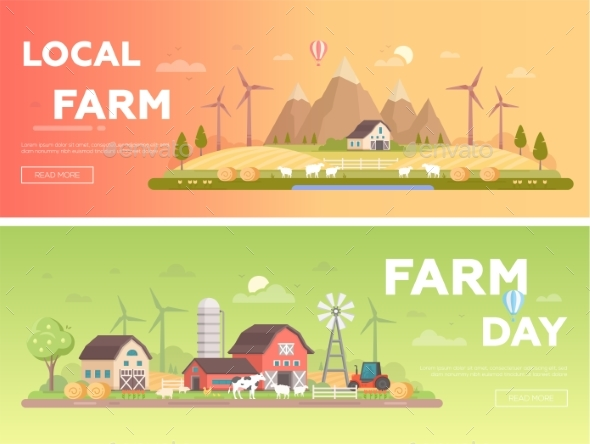 Local Farm - Set of Modern Flat Design Style - Buildings Objects