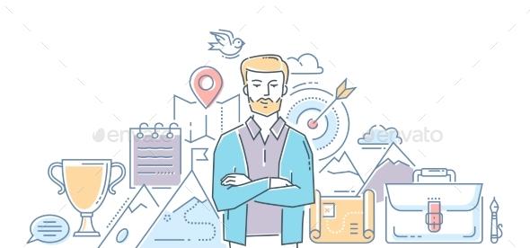 Leadership - Modern Line Design Style Illustration - Concepts Business