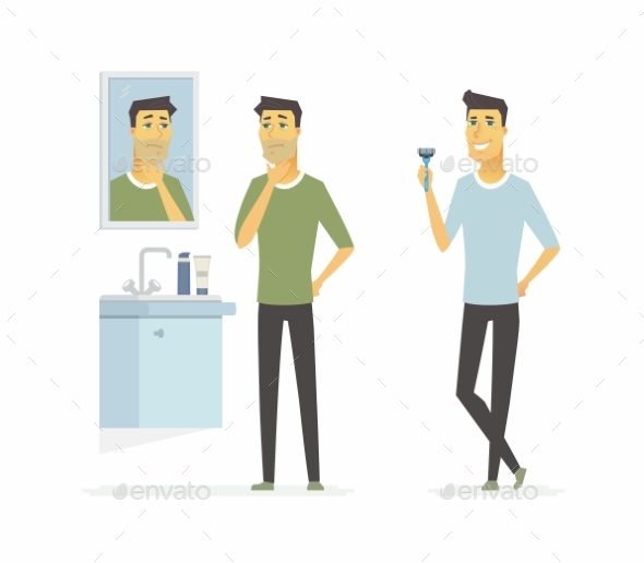 Man Before and After Shaving Cartoon People - People Characters