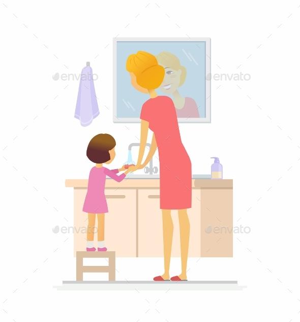 Girl Washing Her Hands Cartoon People - People Characters
