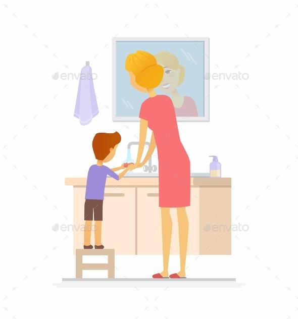 Boy Washing His Hands Cartoon People - People Characters