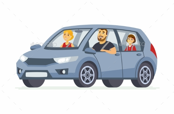 Family in the Car Cartoon People Character - Travel Conceptual
