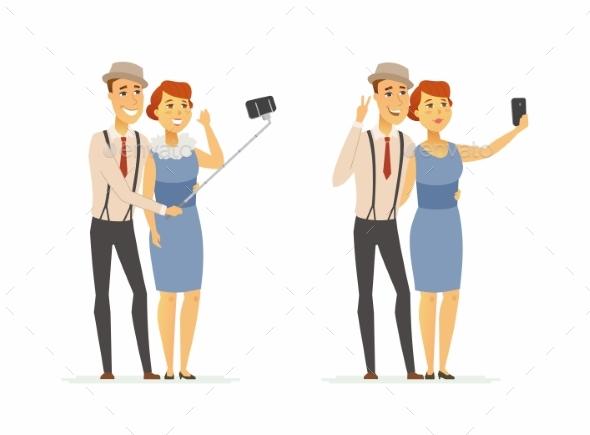 Couple Making Selfie Cartoon People Character - People Characters