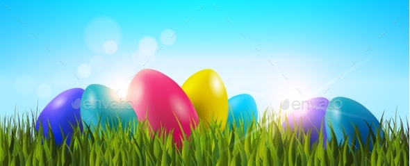 Easter Background With Colorful Eggs in Grass - Miscellaneous Seasons/Holidays