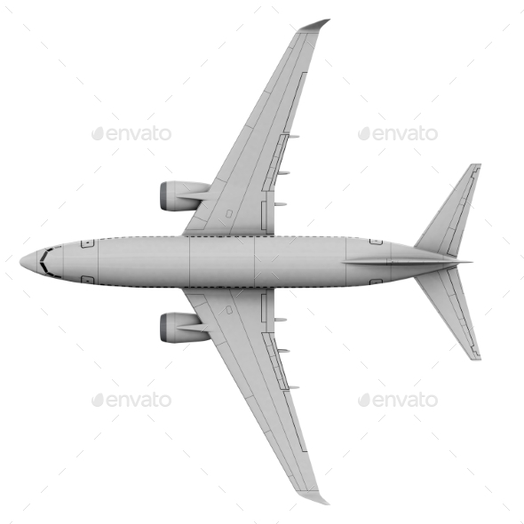 Commercial Jet Plane. 3D Render. View From the Top - Objects 3D Renders